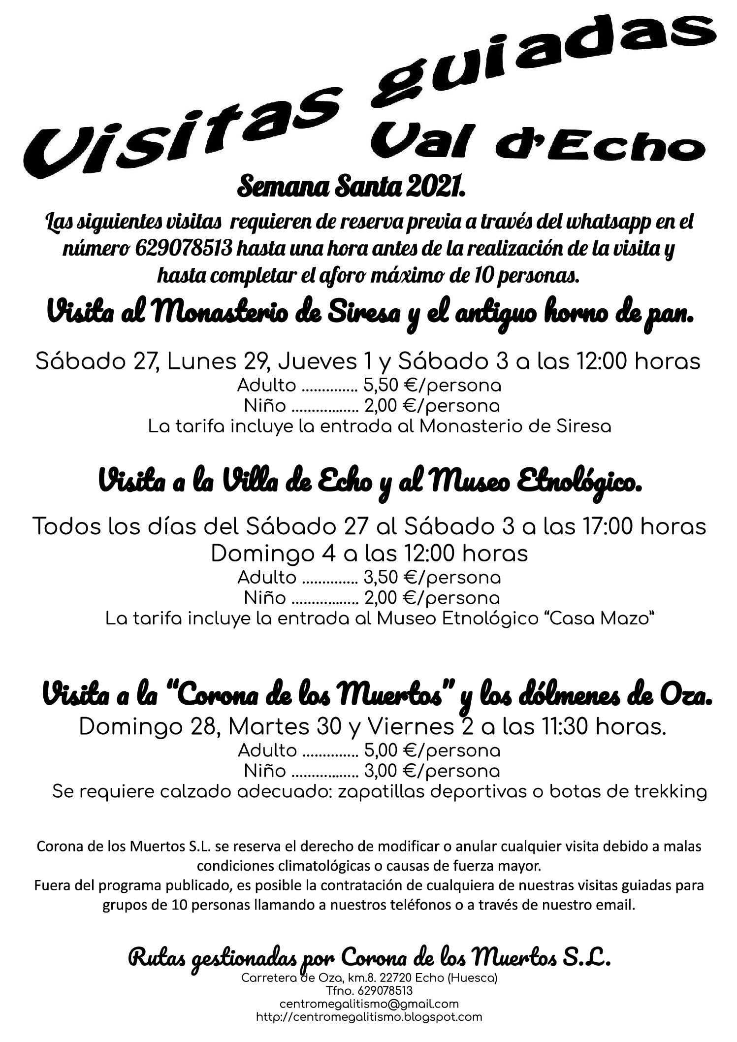 VISITAS GUIADAS EN LA VAL D´ECHO. Semana Santa 2021